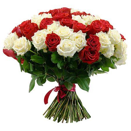 Bouquet 30 Roses Rouges Et Blanches